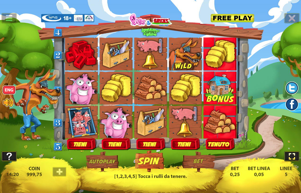 Slot Machine Pigs and Bricks