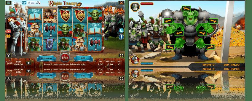 Griglia di gioco slot Knights Treasure